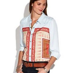Lucky Brand 'Dixie' Scarf Chambray Denim Shirt MED